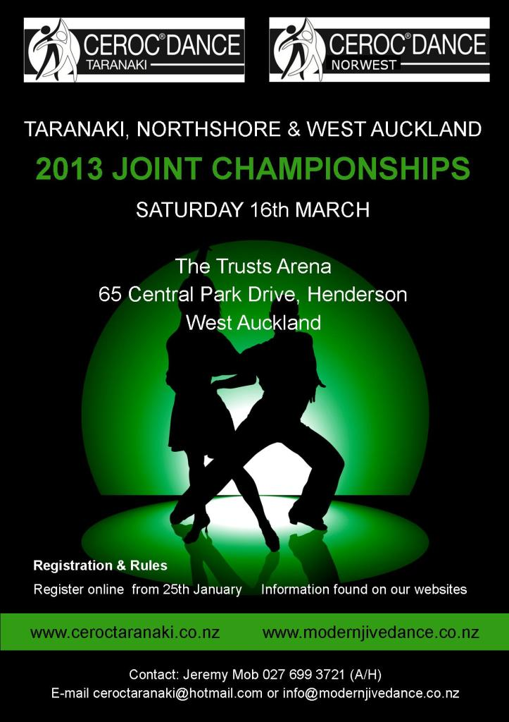 2013 Ceroc Taranaki & North Shore West Auckland Final Flyer